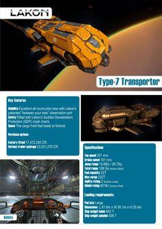 Elite: Dangerous Type-7 Transport Lakon Spaceways Ships Brochure