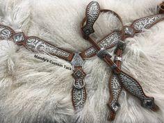 Eggshell floral on chestnut leather