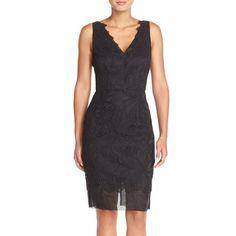 Trina Turk 'Agni' Lace Sheath Dress ($348) ❤ liked on Polyvore featuring dresses, black, scalloped lace dress, lace dress, sleeveless lace dress, black cocktail dresses and lace cocktail dress