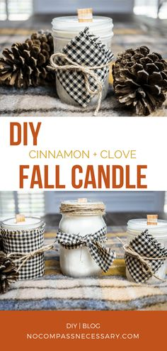 + Clove Fall Candles Make your own DIY mason jar cinnamon and clove fall candle! They're super easy and cheap to make!Make your own DIY mason jar cinnamon and clove fall candle! They're super easy and cheap to make! Fall Candles, Mason Jar Candles, Mason Jar Lighting, Beeswax Candles, Cinnamon Candles, Bottle Candles, Christmas Candles, Diy Christmas, Mason Jar Projects