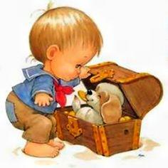 Captain ❤ Cute Little Puppy In A Shopping Cart Puppy Nursery, Baby Art, Cute Illustration, Vintage Cards, Vintage Children, Retro, Cute Cartoon, Cute Drawings, Cute Art