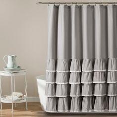 "72""x72"" Ella Ruffle Detailed Shower Curtain Gray - Lush Decor® : Target"