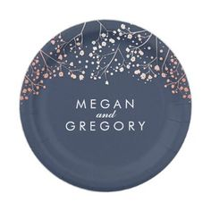 #gold - #Navy and Rose Gold Baby's Breath Wedding Paper Plate