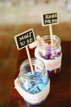 Sweet treats in jars were served to guests at the reception. | www.BridalBook.ph #weddings #weddingreception #DIY