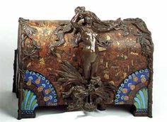 Victor Prouvé (1858-1943) & Camille Martin (1861-1898) - Jewelry Box. Bronze & Enamel on Leather. Nancy, France. Circa 1894.