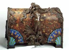 Victor Prouvé (1858-1943) & Camille Martin (1861-1898) - Jewelry Box. Bronze & Enamel on Leather. Nancy, France. Circa 1894.