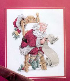 Santa checking his list. 2 more santas below. free