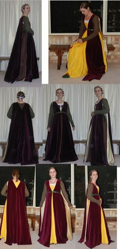 Lovely Florentine ensemble including giornea (burgundy velvet overdress) and yellow gamurra and pin on brown sleeves