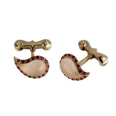 Gold Ruby and Rose Quartz Cufflinks - For Him