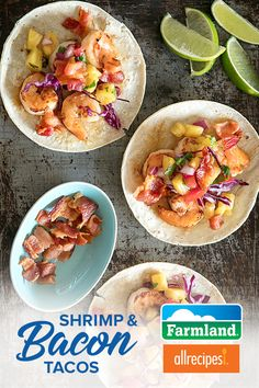 Put a twist on taco night with these sweet and savory Shrimp & Farmland Bacon Tacos topped with pineapple salsa.