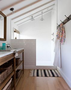 Perfect for the attic renovation. Add a bedroom and a bath, More Set Your Shower Free! Open Shower Renovation Inspiration Source by The post Set Your Shower Free! Open Shower Renovation Inspiration appeared first on Rees Home Decor. Beach House Bathroom, Small Bathroom, Bathroom Ideas, Wooden Bathroom, Bathroom Designs, Bathroom Storage, Bathroom Photos, Cozy Bathroom, Bathroom Layout