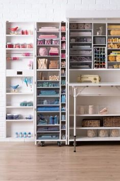 If you've been searching for an ideal craft cabinet, sewing table or just a craft table with storage, this unit is an epic craft closet Craft Storage Furniture, Craft Tables With Storage, Craft Storage Cabinets, Craft Cabinet, Craft Room Storage, Craft Organization, Crafts To Make And Sell, Paper Crafts For Kids, Declutter Books