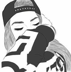 gambar outline, girl, and tumblr