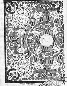 Large Filet Crochet Pattern Square Pattern in Rose Motif for tablecloth, Spreads, TV Cover. Mail Order 517 from Laura Wheeler. Crochet Tablecloth, Crochet Doilies, Vintage Knitting, Vintage Crochet, Crochet Square Patterns, Crochet Ideas, Tv Covers, Crochet Symbols, Set Cover