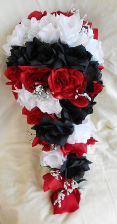 Bridal bouquet silk wedding flowers black red white silver calla silk black red and white cascade wedding bouquet groom boutonniere includes mightylinksfo