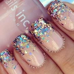 Cute glitter and nude nails