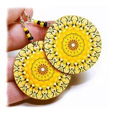 Sunny rosette Earrings Mandala Round Summer Fashion by MADEbyMADA, $20.00