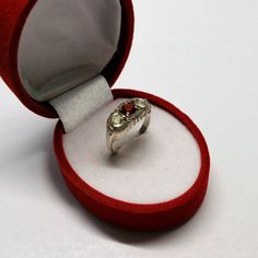 188 mm Ring Silber 835 Kristalle rot & klar Art Deco Vintage