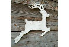 """25"""" Flying Reindeer Decor, White"""