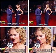 Taylor talking about writing songs for her next album on the red carpet