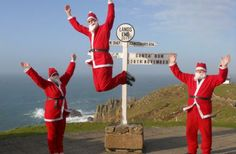 Love these Christmas Santa's at Land's End, Cornwall!