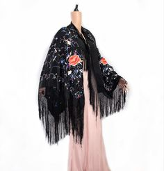 Vintage/antique black chinese piano shawl/wrap/cape/stole with colourful floral embroidery. Floral Embroidery, Embroidery Designs, Vintage London, Floral Motif, Vintage Costumes, Red Flowers, Shawls, Vintage Antiques, Piano