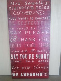 Classroom rules sign by alieverwanted on Etsy, $40.00