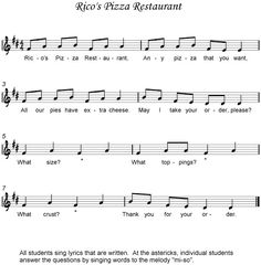 Mi Sol la song--create a B section with each group of students creating their own ostinato using pizza words!