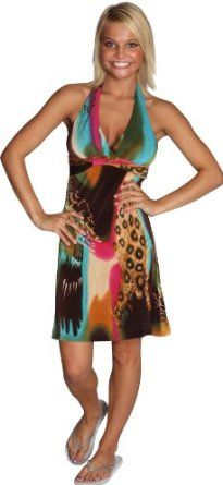 Alki'i Fusion Leopard Print Halter Casual Evening Party Cocktail Dress   $27.99