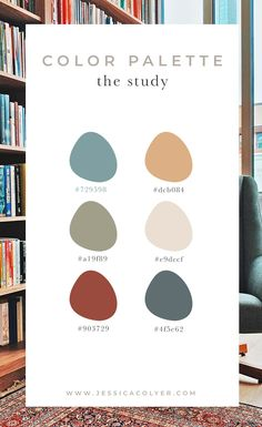 The Study Color Palette Rustic Color Schemes, Rustic Color Palettes, Rustic Colors, Colour Schemes, Color Combos, Kitchen Color Schemes, Interior Design Color Schemes, House Color Palettes, Nautical Colors