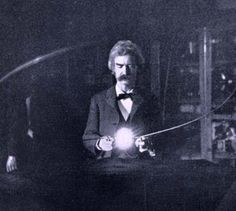 Mark Twain in Tesla's laboratory at 35 South Fifth Avenue, early 1895.