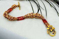 Bathsheba Brass and Swarovski Crystal by EclecticArtbyCynthia #chainmaille