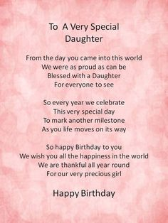 Happy birthday wishes for your daughter:.Sweet Birthday Poems for Daughter Birthday Poems For Daughter, Birthday Verses, Mom Quotes From Daughter, Mother Daughter Quotes, I Love My Daughter, Birthday Wishes Quotes, Mother Quotes, Happy Birthday Me, 21st Birthday