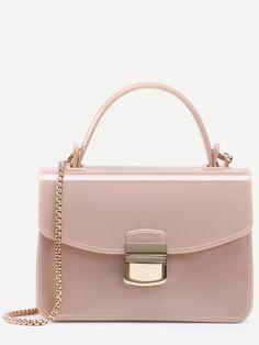 Apricot Pushlock Closure Plastic Handbag With Chain