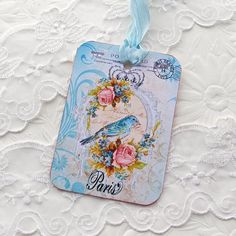 Tags Gift Hang Party Paris Blue Bird Shabby door EnchantedQuilling, $5.00