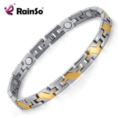 Healing Magnetic Bracelet Men/Woman Titanium Magnetic Bracelet Titanium Bracelet With Magnets In IP Gold Plating OTB-124SG