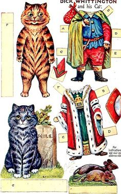 """Dick Whittington and His Cat"" Paper Dolls - by Louis Wain"