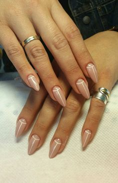 #acrylic #almond #long #nails #nude #nailart #stiletto #white #lines