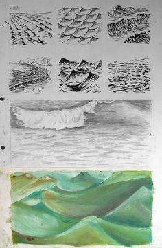 Examples of sketchbook pages to inspire students who are working on a natural forms theme in their GCSE Art sketchbooks. GCSE-art-ideas-sketchbook Waves done different ways Water Drawing, Painting & Drawing, Water Sketch, Water Art, Art Sketches, Art Drawings, Drawing Faces, Gcse Art Sketchbook, Sketching