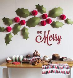 Christmas decoration - holly wall (with printable template) // Karácsonyi fali dekoráció papírból (nyomtatható mintaívvel) // Mindy - craft tutorial collection