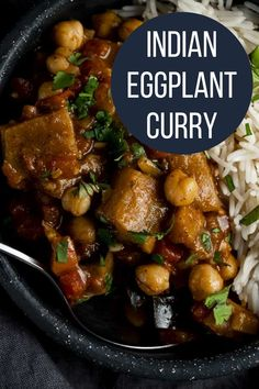 A spicy coconut curry with creamy chickpeas, warm spices and roasted eggplant, the Eggplant Curry is so flavorful plus it's super easy to make! Warm spices with the creamy coconut milk and just the slightest amount of spice is just perfection. Asian Noodle Recipes, Asian Chicken Recipes, Asian Dinner Recipes, Easy Asian Recipes, Curry Recipes, Ethnic Recipes, Coconut Curry, Coconut Milk, Best Indian Recipes