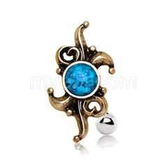 Antique Top Down Turquoise Navel Ring