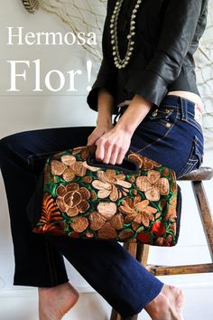 These beautiful embroidered Mexican flowers will remind you of spring in this hot summer! Buy now- http://www.urbangypsydesigns.com.au/collections/clutches-wallets/products/gypsy-love-clutch-bag-black-copper-mocca