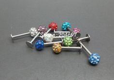 Mix 100pcs 1.2*8*4mm New Arrival Crystal Paved Ferido Gem Disco Ball Monroe Labret Lip Ring Piercing Body Jewelry