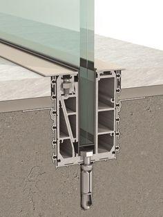 B - Aluminum fastening system / for panels / for railing / glass by Clear glass Detail Architecture, Interior Architecture, Interior Design, Environmental Architecture, Architecture Quotes, Architecture Tattoo, Glass Handrail, Oak Handrail, Frameless Glass Balustrade