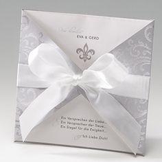 Faire part mariage glamour irisé gris arabesque ruban BELARTO