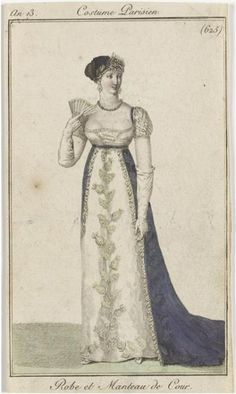 Regency fashion plate. Gown with dark blue overdress.