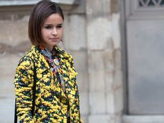 Miroslava Duma wears SS12 Mary Katrantzou at Paris Fashion Week