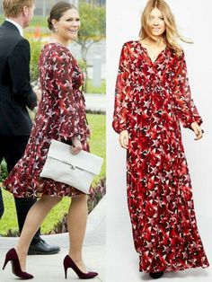 During the Royal Tour in Colombia and Peru, Crown Princess Victoria wore a number of ASOS Maternity dresses, among them this Maxi dress in star print that she had shortened