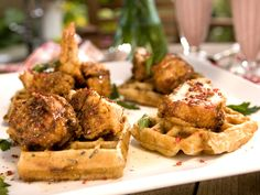 Fried Chicken and Wild Rice Waffles with Pink Peppercorn Sauce recipe from Bobby Flay via Food Network